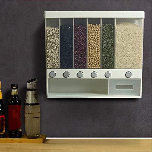 Dispensador de arroz y cereales dividido montado en la pared, 10 kg, 6 estantes automáticos de plástico a prueba de humedad, caja de almacenamiento de alimentos sellada transparente