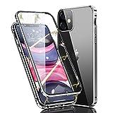 Ellmi Funda para iPhone 11, Adsorción Magnética Parachoques de Metal con 360 Grados Protección Case Cover Transparente Ambos Lados Vidrio Templado Cubierta para iPhone 11 (Plata)