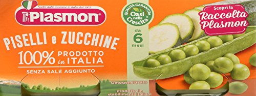 Plasmon Omogeneizzato di Verdure, Piselli e Zucchine - 24 Vasetti da 80 gr