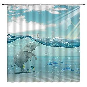 BCNEW Elephant Shower Curtain Decor Blue Ocean Sea Sky White Cloud Tropical Fish Creative Animal Decorative Bathroom Curtain Polyester Fabric Machine Washable with Hooks 70x70 Inches