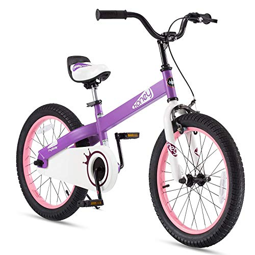 RoyalBaby Boys Girls Kids Bike 18 Inch Honey Bicycles with Kickstand Child Bicycle Purple