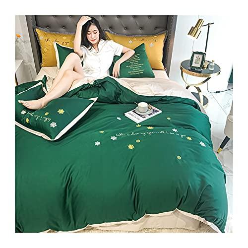 Påslakanset Sängkläder 4 Delar Dubbel Tråd 60S Lång Stapel Bomull Lyx Påslakanset - Påslakan 200x230+ Dra-på-lakan 150/180x200 + Örngott 48x74cmx2 (Color : Green A, Size : 200x230cm -150x200cm)