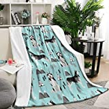 Siberian Husky Dog and Mountains Summer Thick Blanket Cozy Couch Warm Throw Blanket Flannel Fleece Blanket, 59 X 79 Inch