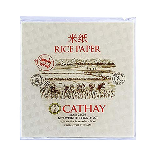 Cathay Fresh Spring Roll Rice Paper Wrappers, Rice Paper Wrappers for Fresh Rolls-30 Sheets, Non-GMO, Gluten-Free, Low Carb, Vietnamese Summer Wrap with Natural Ingredients,Veggie Wrap (Square, 22cm)