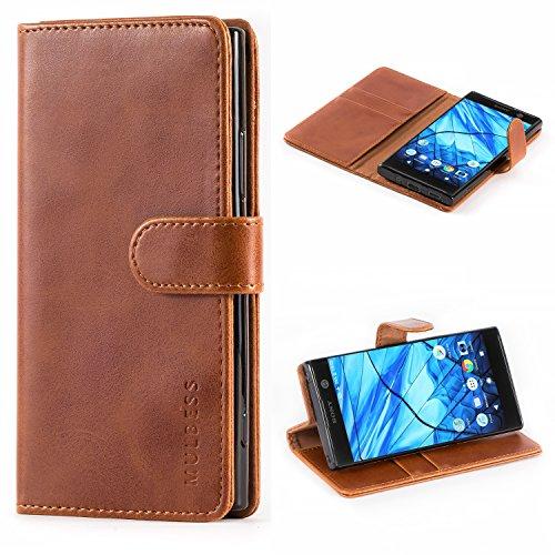 Mulbess Handyhülle für Sony Xperia XA2 Hülle Leder, Sony Xperia XA2 Handytasche, Vintage Flip Schutzhülle für Sony Xperia XA2 Hülle, Braun