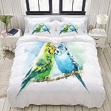 Funda nórdica, acuarelas para mascotas, pájaros, periquitos verdes y azules, dibujados a mano, verano tropical, juego de cama, juegos de fundas de edredón de poliéster de lujo, ultra cómodos y ligeros