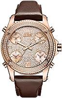 JBW Luxury Men's Jet Setter 136 Diamonds Five Time Zone Swiss Movements & Italian Leather