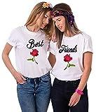 Best Friends T-Shirts für 2 Mädchen Sister Shirts für Zwei mit Rose BFF Shirt Schwarz Damen Tops Baumwolle Sommer Oberteil