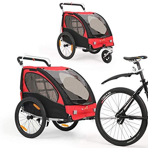 2 in 1 Fahrradanhänger 360 ° drehbarer Kinderwagen Zweisitzer mit Griffbremse und Radschutz Baby-Jogging-Gerät BT502 (rot)