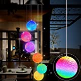 Gerhannery Solar Windspiel Glockenspiele Muttertagsgeschenk Dekor Lamp LED Solar Wind Chime Light Spiral Spinner Color Changing Garden Lamp (Round)