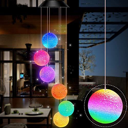 Gerhannery Solar Windspiel Glockenspiele Muttertagsgeschenk Dekor Lamp LED Solar Wind Chime Light Spiral Spinner Color Changing Garden Lamp (Round)