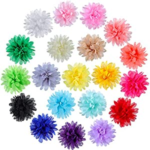 WILLBOND 20 Pieces Dog Collar Flowers Pet Flower Bow Ties Multi-Color Dog Charms Flower for Puppy Dog Collar Grooming Accessories (8 cm/ 3.1 Inch)
