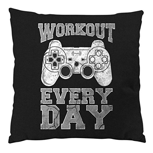 style3 Gamer Workout Kissen mit Füllung 28 x 28 cm Baumwollbezug, Farbe:Schwarz