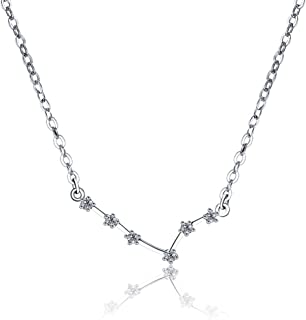 Chic 925 Silver Necklace Aries Zodiac Sign for Women CZ Pendant Necklace
