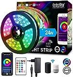 Extrastar WIFI Tiras LED Alexa Inteligente, Luces LED RGB 5M Funciona con Alexa, Google Home, App,16 Millones de Colores IP65, Luz Decoracitiva para Habitación, Fiestas
