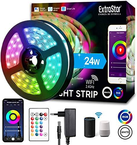 WIFI Tiras LED Alexa Inteligente, Luces LED RGB 5M Música...