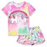 QPANCY Alpaca Unicorn Pajamas for Girls Tie Dye Pjs Set Short Sleeve Night Shirt Sleepwear,Size 8 9