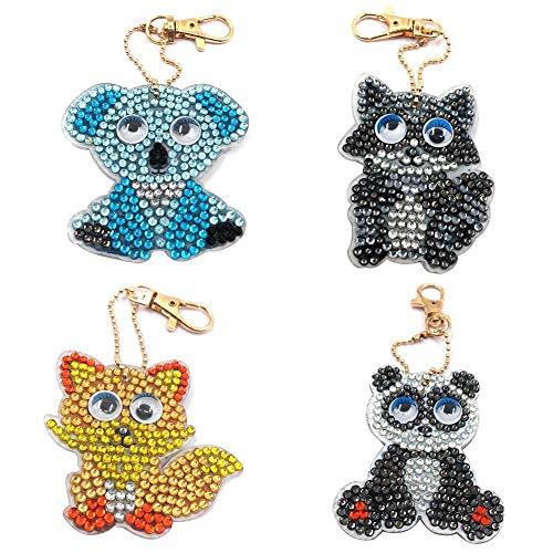 4pcs/Set DIY Full Drill Diamond Painting Cartoon Animal Key Chain Jewelry