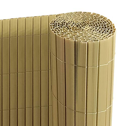 Ribelli® PVC Sichtschutzmatte mit Steg, extra stabil Sichtschutzzaun Sichtschutz Zaun Balkon Windschutz (120 x 500 cm, bambus)