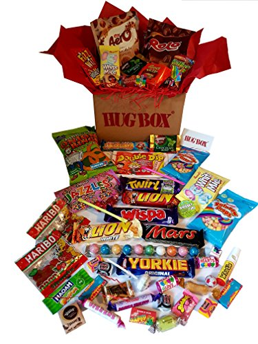 Original Hug Box - Personalised Gift Hamper idea Hand Packed in 3 Layers of Sweets, Biscuits and Chocolates Plus Personal Message