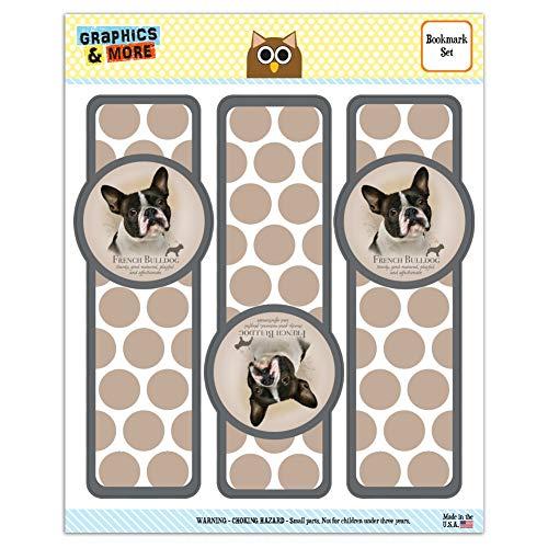 French Bulldog Dog Breed Set of 3 Glossy Laminated Bookmarks
