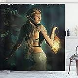 ABAKUHAUS Fee Duschvorhang, Elf Prinzessin Lantern, mit 12 Ringe Set Wasserdicht Stielvoll Modern Farbfest & Schimmel Resistent, 175x220 cm, Benzinblau Beige