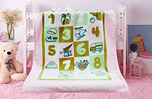 KFZ Soft & Warm Double Layer Toddler and Nursery Blanket Cartoon Toys Printed Throw for 0-3 Year Old Baby Boys & Girls, Anti-Pilling, Reversible & Breathable (Pink, Baby, 31'x43')