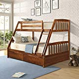 Merax Solid Wood Twin Over Full Bunk Bed with Two Storage Drawers and Removable Ladder, Walnut