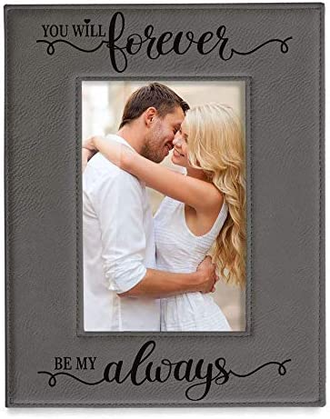 KATE POSH You Will Forever by My Always Engraved Grey Leather Frame Engagement Wedding 3rd Anniversary product image