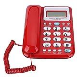 Telefono Fisso W288 Telefono Fisso Telefono Fisso Fisso con ID chiamante Registrazione del Tempo del chiamante per Home Hotel Office, Volume Regolabile(Rosso)