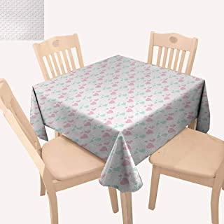 UHOO2018 Kids,Restaurant Table Cloth Girls Room Inspired Image of Cartoon Hearts Love Valentines Design Easy Care and Durable Light Pink Mint Green and White 36