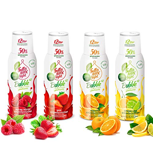 Light Low-Carb Fitness-Sirup Himbeere-Erdbeere-Orange-Zitrone-Limette von Frutta Max light | Zero-Zucker | mit Stevia | 50% Fruchtanteil 4erPack(4x500ml)