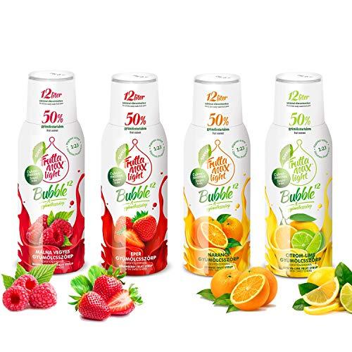 Light Low-Carb Fitness-Sirup Himbeere-Erdbeere-Orange-Zitrone-Limette von Frutta Max light | Zero-Zucker | mit Stevia | 50% Fruchtanteil 4erPack(4x500ml)