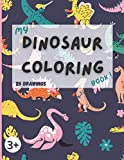 My dinosaur coloring book !: 25 dinosaurs and prehistoric animals paleofauna coloring pages. For kids ages 3-6 with name and few facts about the animal to color !