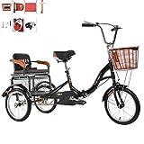 Triciclo bicicleta para adultos de 3 ruedas con motor humano Scooter de una sola cadena plegable para anciano con canasta de asiento trasero y bicicleta tándem con pedales Recoger y soltar niños de 1