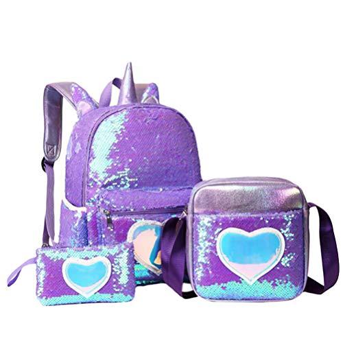 VALICLUD 3 Piezas de Lentejuelas Reversibles Unicornio Corazón Conjunto de Mochila Escolar Mochila Ligera para Niños Pequeños Hermosas Mochilas Escolares Brillantes para Niñas (Púrpura)