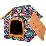 Caseta para gatos al aire libre, resistente al invierno, grande, plegable, semicerrada, con techo de lona impermeable, caseta para perros, caseta para mascotas portátil para cama para perros (M)