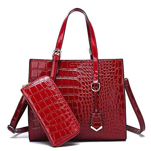 Coolives Conjunto de Bolsos de mano con 2 Piezas con Bandolera per Mujer Bolso de Hombro Patrón de Cocodrilo Rojo