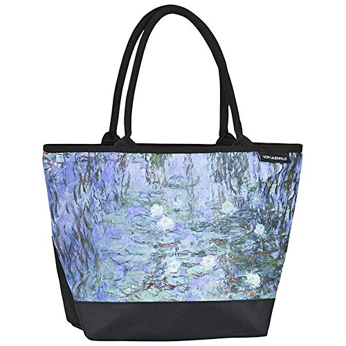 VON LILIENFELD® Bolsa Compra Shopper Grande de Playa Bandolera Mujer Arte Floral Claude Monet: Nenúfar