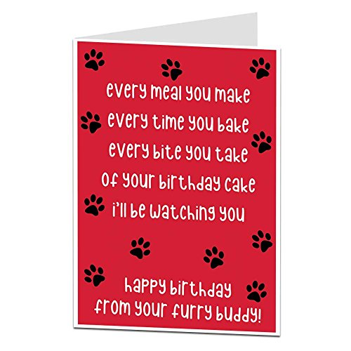 Funny Happy Birthday Card from The Dog Pet Theme Perfect for Mum Dad...