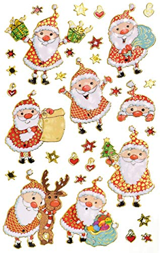 AVERY Zweckform Art. 52875 Aufkleber Weihnachten 8 Weihnachtsmänner mit 23 Details (Weihnachtssticker aus Effektfolie, selbstklebende Weihnachtdeko für Karten, Geschenke, DIY) 1 Bogen mit 31 Stickern