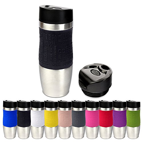 Schramm® Thermobecher in 10 Farben inkl. Ersatzdeckel Isolierbecher ca. 400ml Thermoisolierbecher Kaffeebecher Travel Mug Reisebecher BPA-frei Coffee to go Becher, Farbe:schwarz