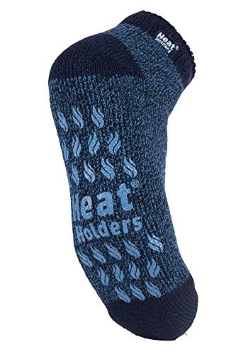 Heat Holders - Mens Non Skid Low Cut Thermal Ankle Slipper Socks with Grippers (7-12 US, LC Navy/Denim)
