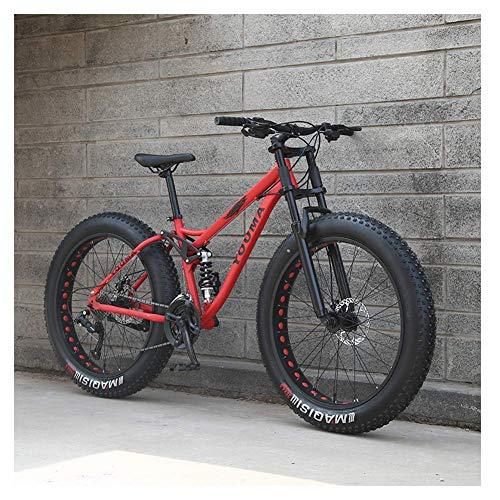 26 Inch Mountain Bikes, Adult Boys Girls Fat Tire Mountain Trail Bike, Dual Disc Brake Bicycle Outdoor Bikes