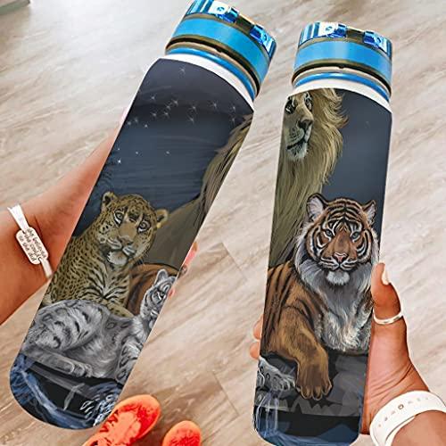 Snilyyx Botella de agua deportiva de tigre de león de leopardo, botella de viaje grande, a prueba de fugas, regalos para amigos blanco, 1000 ml