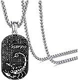 DUEJJH Co.,ltd Collar Punk Rock Titanio Acero Doce Constelaciones Etiqueta de Perro Colgante Collar de Cristal
