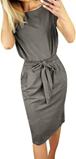 Swyss Summer Womens Casual Pocket Short Sleeve O-Neck Solid Mini Dress with Belt Office Dress