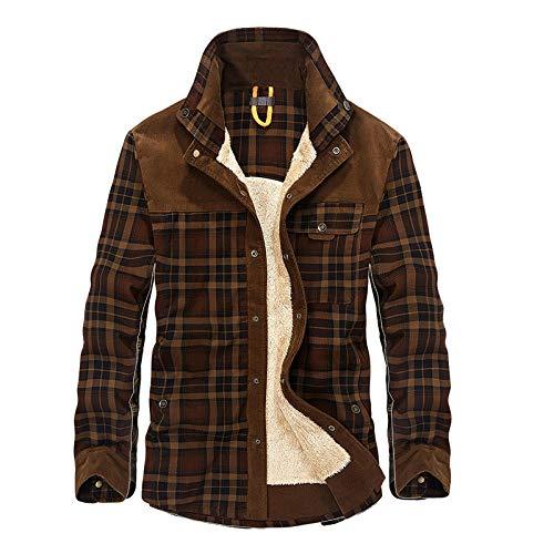 YJWSPD Abrigo Hombre Chaquetas Cálido Invierno con Prueba de Viento Abrigo Chaqueta Camisa de manga larga de algodón a cuadros marrón _3XL
