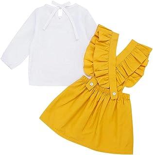 FUTERLY Girls Skirts Set Toddler Baby Girl Ruffle Strap Skirt + Long Sleeve T-Shirt Tops Perfect Fall Outfits Set 120