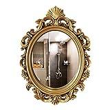 YXW Espejo de Pared con Decoración de Arte 54 × 75 cm, Espejo Ovalado con Marco Antiguo, Espejo de Baño para Sala de Estar/Dormitorio, Espejo Dorado 70 × 90 cm